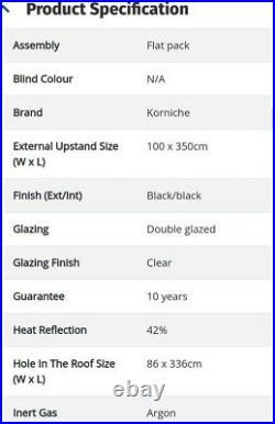 1m x 3.5m Korniche Glass Lantern Rooflight / Skylight with Ambi Clear Tint &