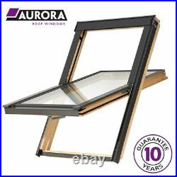 Aurora Centre Pivot Pine Roof Window. Loft Rooflight, Skylight + Flashing Kit