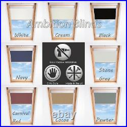 Blackout Skylight Roller Blinds For Velux Roof Windows Thermal Fabric All Sizes