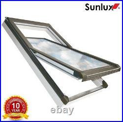Centre Pivot White PVC Roof Windows 78cm x 140cm + Flashing. Roof light Sunlux
