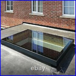 Home Flat Roof Skylight Window Tempered Glass 1000X1200MM Black Aluminium Frame