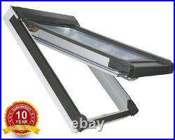 PVC White Top Hung Skylight Escape Access Roof Windows 78cm x 98cm + Flashing