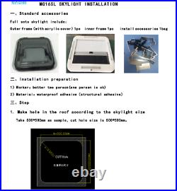 RV Caravan Motorhome LED Skylight Roof Window Hatch MG16SL 800/700/500500MM