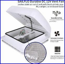 RV Roof Vent Fan Camper Skylights Ventilation Cover Motorhome Windows 11 White