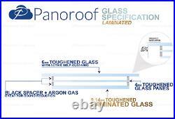 SKYLIGHT ROOF WINDOW TRIPLE GLAZED CLEAR SELF CLEANING GLASS 1000mmx1500mm