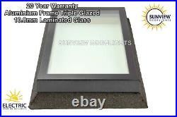 SKYLIGHT ROOFLIGHT WINDOW 800mm X 800mm ALI FRAME TRIPLE GLAZED 10.8mm LAMINATED