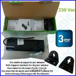 SMART 230V BLACK + BRACKETS FOR SKYLIGHT Motor for roof windows and domes