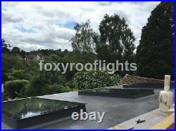 Skylight Flat Roof Rooflight Triple Glazed Self Clean Glass 1000 x 4000mm +Kerb