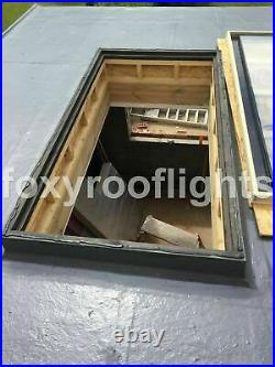 Skylight Flat Roof Rooflight Triple Glazed Self Clean Glass 1000mmx2500mm +Kerb