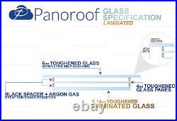 Skylight Flat Roof Rooflight Triple Glazed Self Clean Glass 1200mmx2400mm +Kerb