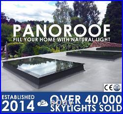 Skylight Flat Roof Rooflight Triple Glazed Self Clean ToughGlass 1000x3000 +Kerb