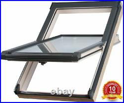 Wooden Timber Roof Window 55 x 98cm Double Glazed Skylight Centre Pivot Rooflite