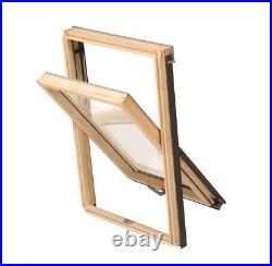 YARDLITE Unvented Pine Roof Window, Pivot Skylight +Flashing & Blinds