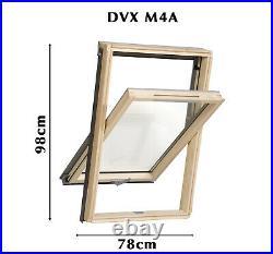 YARDLITE Vented Pine Roof Window, Pivot Skylight + Flashing & Blinds